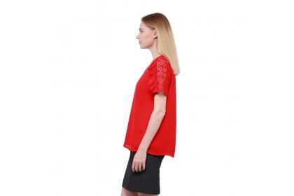 Nicole Exclusives- Round Neckline Blouse With Lace Trim Detail