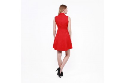Nicole Exclusives- Shawl Collar Sleeveless Dress