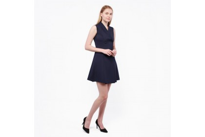 Nicole Exclusives- Shawl Collar Sleeveless Dress