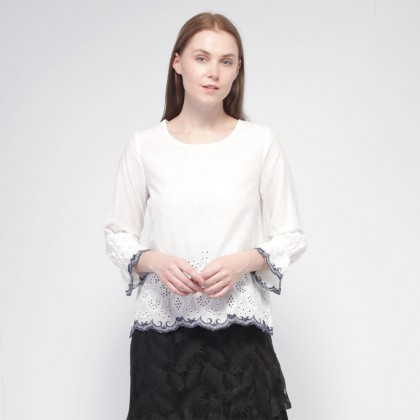 NE Double S Round Neckline Long Sleeve Hem with Embroidery Blouse