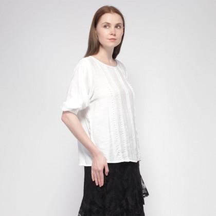 NE Double S Round Neckline Short Puff Sleeve Loose Feel Blouse- White