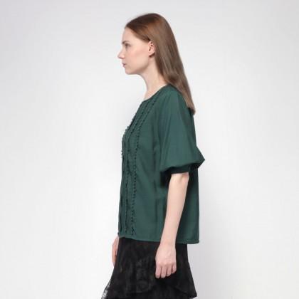 NE Double S Round Neckline Short Puff Sleeve Loose Feel Blouse - Green