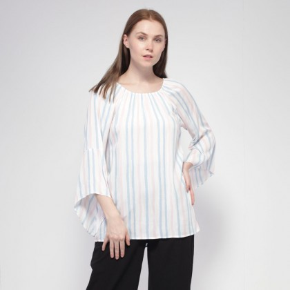 NE Double S Round Neckline Long Flare Bell Sleeve Striped Blouse