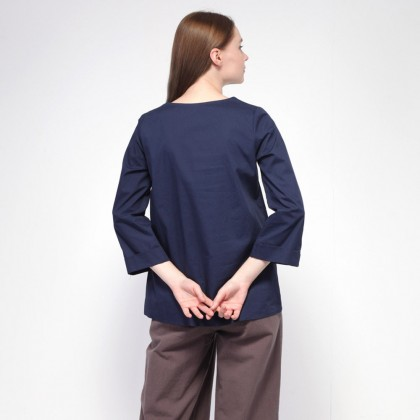 NE Double S V Neckline Uneven Hem Wide Long Sleeve Blouse