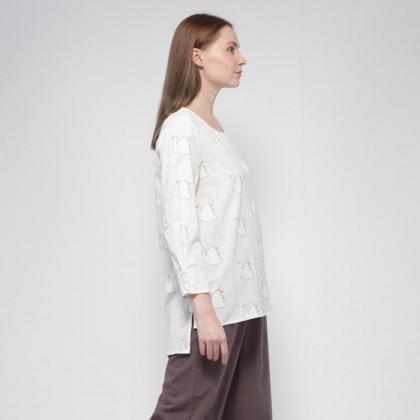 NE Double S Round Neckline Long Sleeve Printed Long Blouse