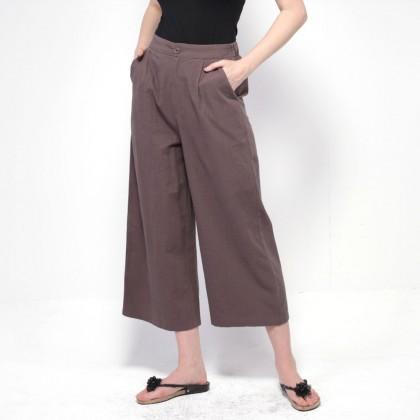 NE Double S Comfy Waist Cotton Wide Leg Pants -Grey