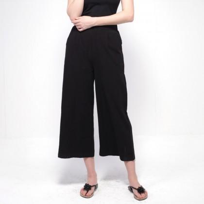 NE Double S Comfy Waist Cotton Wide Leg Pants - Black