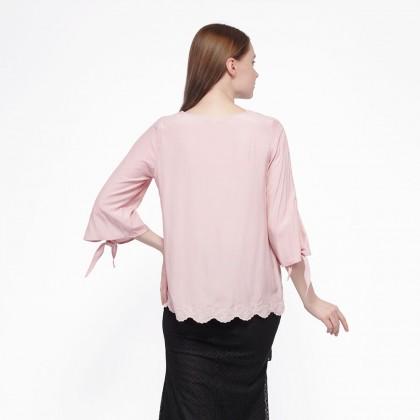 Nicole Exclusives Round Neckline Blouse-Dusty Pink