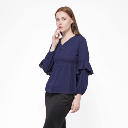 Nicole Exclusives Long Sleeve Blouse-Navy Blue