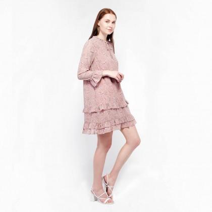 NE Double S  Floral Long Sleeve Flare Midi Dress