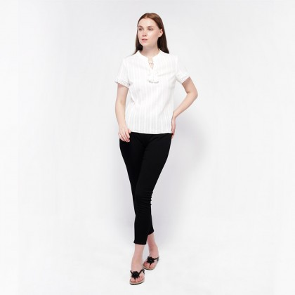 Ne Double S- High Neckline Front with Cotton Rope And Short Sleeve Trim Lace Blouse