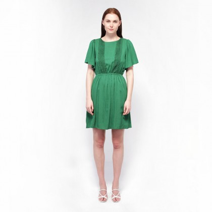 Ne Double S- Round Neckline Flare Short Sleeve Midi Dress