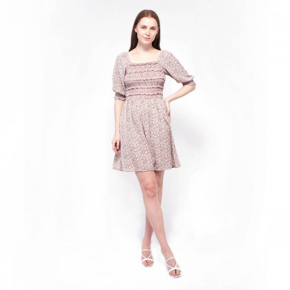 NE Double S-Square Neckline Puff Sleeve Floral Printed Dress