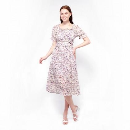 Ne Double S- Floral Puff Sleeve Maxi Dress
