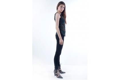 Nicole Army Printed Sleeveless Tops With Front Zip And Inner Lace Tube Detail
