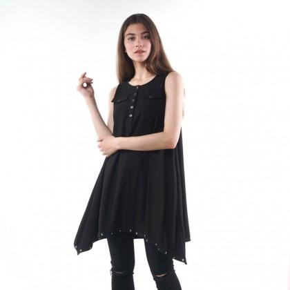 Black Sleeveless Flare Mini Dress