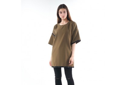 Round Neckline Shoot Sleeve Loose Fit Blouse Trim With Rivets Polyester Tape