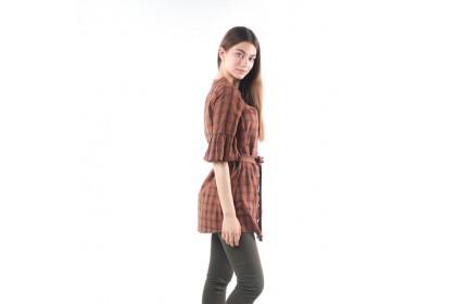 Nicole Mandarin Collar Flare Sleeve Checked Blouse