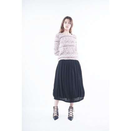Long Sleeve Round Neckline Graphic Knitted Blouse