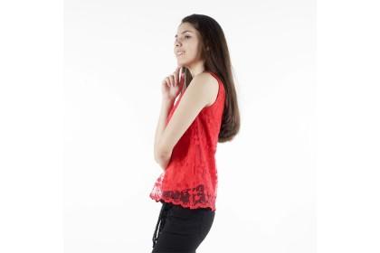 High Neckline Sleeveless Lace Blouse