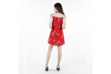 High Neckline Floral Printed Mini Dress