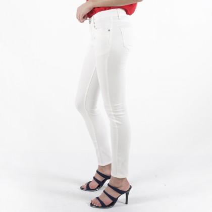 Nicole Cotton Twill White Skinny Pant