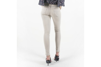 Nicole Cotton Twill Beige Skinny Pant