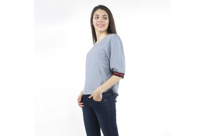 Eighteen Plus Blue Woven Blouse With Rib Cuffs
