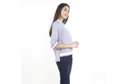 Eighteen Plus Blue Striped Blouse With Rib Collar