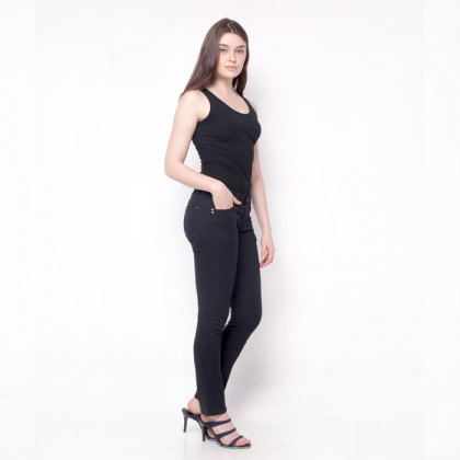 Nicole Cotton Twill Straight Pant Black