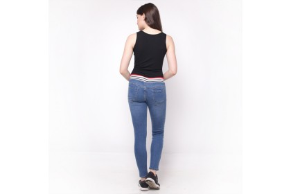 Eighteen Plus Pull Up Jeans With Rib Elastic Waistband