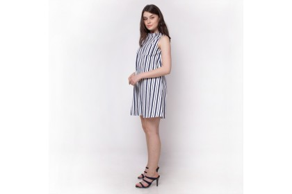 Nicole A Line Stand Collar Striped Dress