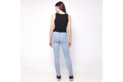 Eighteen Plus Denim Light Blue Skinny Fit With Tape Trimming