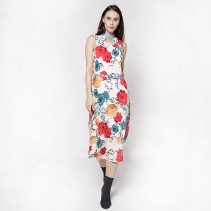 Mandarin Collar Sleeveless Floral Printed Maxi Dress