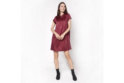 Mandarin Collar Short-Sleeve A-Line Dress ( 2 colours)