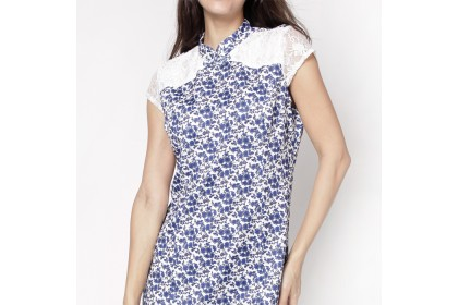 Mandarin Collar Cap Sleeve Floral Printed Dress (2 Colours)