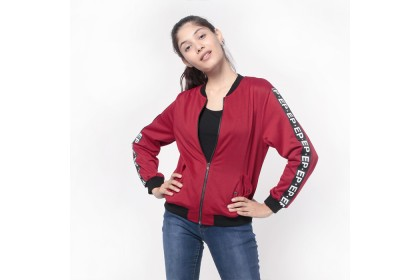 Bomber Jacket With Printed Nylon Tapping Detail On Sleeve