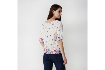 Round Neckline Elastic Hem Floral Printed Blouse