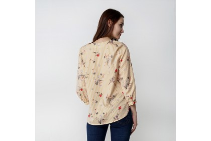 V-neckline Long Puff Sleeve Floral Printed Blouse