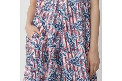High Neckline Sleeveless Floral Printed Maxi Dress