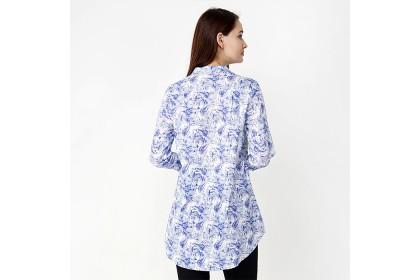 High Neckline Long Sleeve Long Printed Blouse