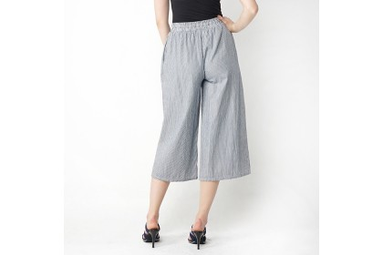 Elastic Waist Striped Wide Leg Pants