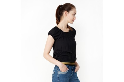 Stretchable All Over Elastic Neckline And Sleeve Blouse With Rib Hem