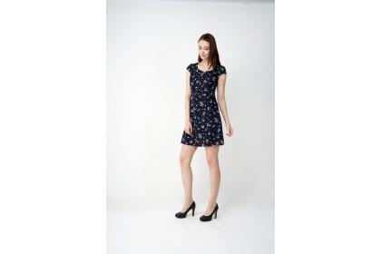Square Neckline Short Sleeve Floral Printed Dress