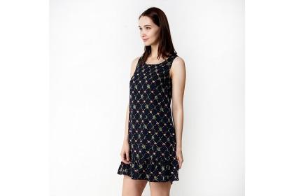 Round Neckline Floral Printed A-Line Dress