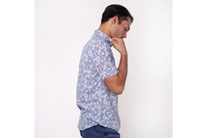 Blue Printed Short Sleeves Shirt