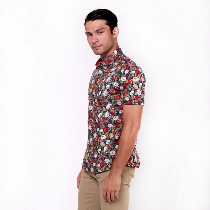 monsieur NICOLE Floral Printed Short Shirt