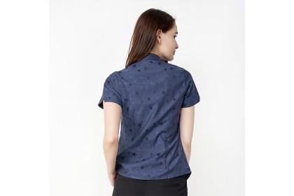 Women Basic Navy Short Sleeve Blouse