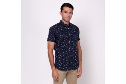 Nic by NICOLE Navy Printed Short Sleeves Shirt