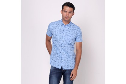 NIC by NICOLE Blue Printed Short Sleeves Shirt